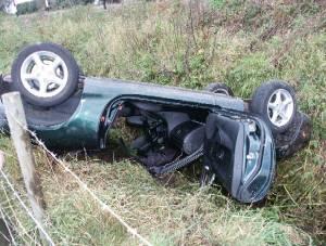 Overturned Mazda MX5