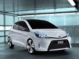 White Toyota Yaris Hybrid.